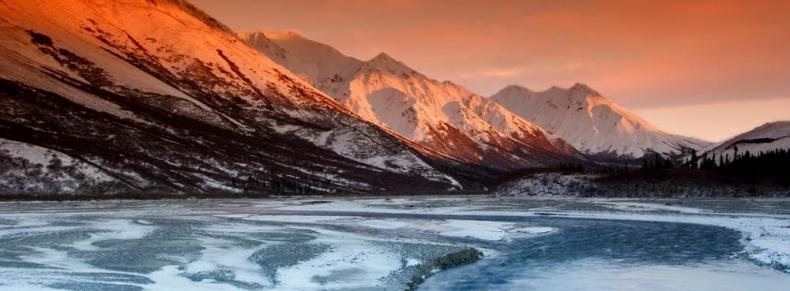 Coucher de soleil sur les glaciers