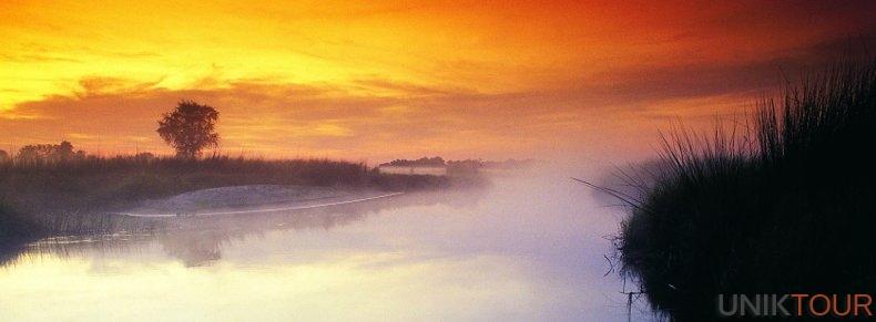 L'Okavango au crépuscule